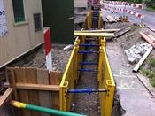 Leitungsgraben bereit zur Rohrmontage