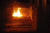 Der Blick von Aussen auf den Brennrost
